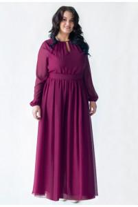 Длинное платье большого размера с рукавом марсала