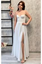 Длинное сексуальное белое платье с чашечками