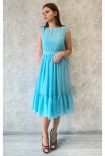 Голубое платье миди с пуговками по спинке