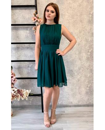 Изумрудное коктейльное платье в греческом стиле