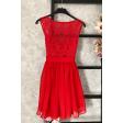 Персиковое коктейльное платье с кружевом