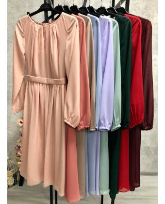 Коктейльное платье с длинным рукавом лаванда