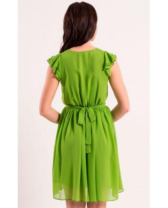 Короткое фисташковое платье