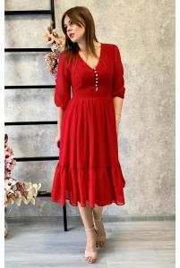 Красное платье миди с пуговками