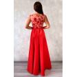 Красное вечернее платье с расшитым лифом