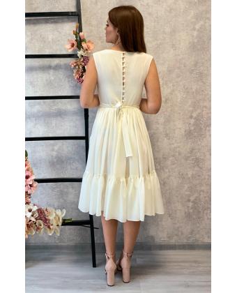 Молочное платье миди с пуговками по спинке