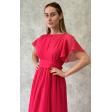 Платье греческое с рукавчиком фуксия