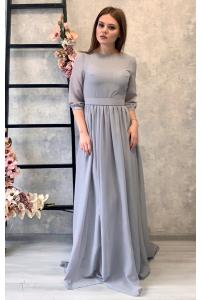 Платье с шифоновыми рукавами серое