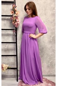 Платье с шифоновыми рукавами сиреневое