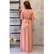 Платье в греческом стиле с рукавом 3/4 пудра