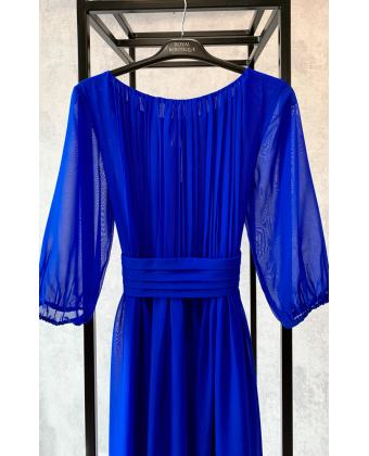 Платье в греческом стиле с рукавом 3/4 синее