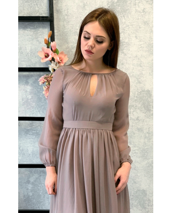 Платье в пол с длинным рукавом какао