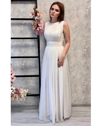 Шифоновое платье в пол греческое, молочное