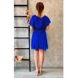 Синее коктейльное платье с рукавчиком крылышком