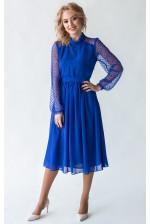 Синее коктейльное платье с рукавом в горошек