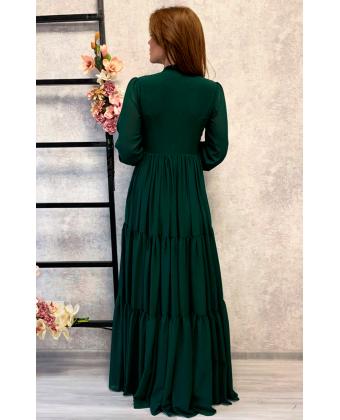 Стильное изумрудное платье в пол