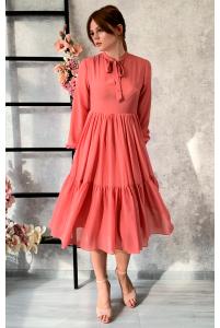 Стильное лососевое платье