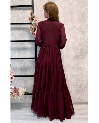 Стильное платье в пол цвета марсала
