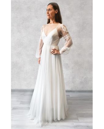 Свадебное платье бохо в горошек