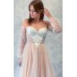 Свадебное платье с чашками и длинным рукавом