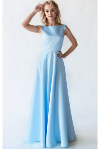 Атласное небесно - голубое платье