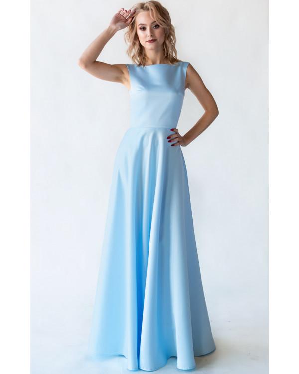 4a23f198497 Атласное небесно - голубое платье купить в интернет-магазине Роял ...