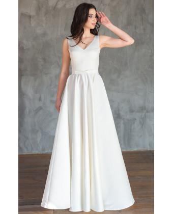 Атласное свадебное платье с юбкой солнце