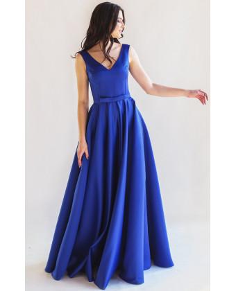 Атласное вечернее платье с юбкой солнце