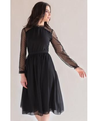 Черное коктейльное платье с рукавом в горошек