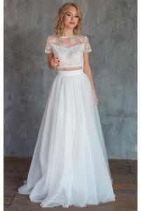 Эффектный свадебный комплект топ и юбка