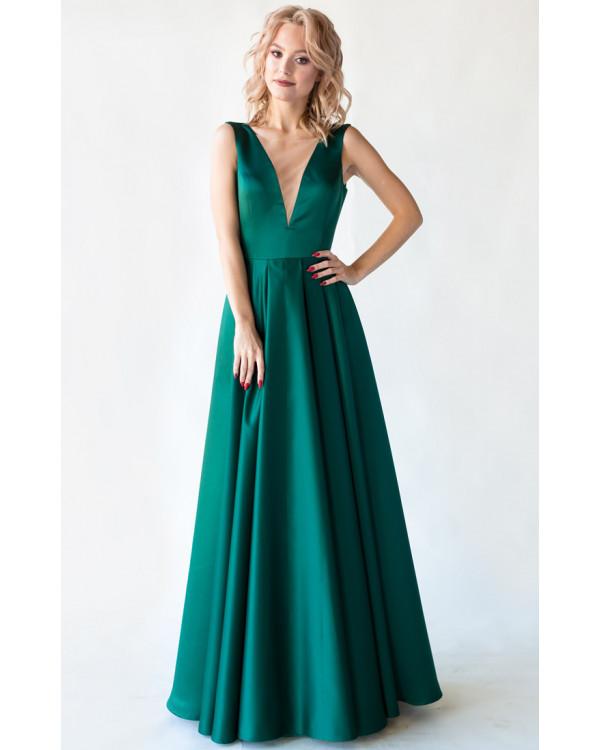 c53ba9acb8a Изумрудное вечернее платье с открытой спиной купить в интернет ...