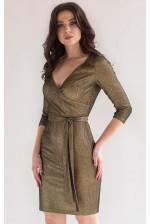 Коктейльное блестящее платье с рукавом