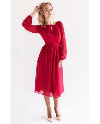 Коктейльное платье с длинным рукавом красное