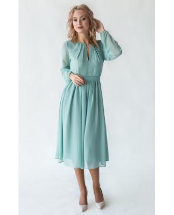 Коктейльное платье с длинным рукавом шалфей