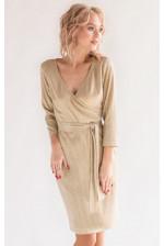 Коктейльное золотое платье с рукавом