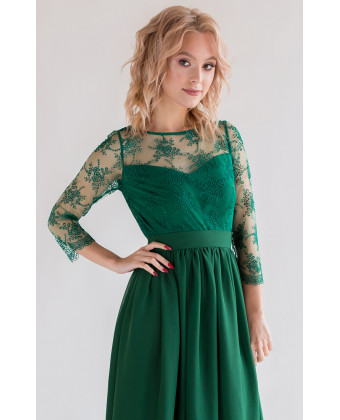 Платье с кружевом и рукавом изумруд