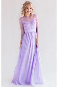 Платье с кружевом и рукавом лаванда