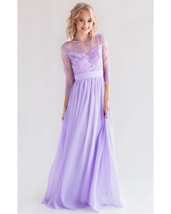 844a332e2f4 Платье с кружевом и рукавом лаванда купить в интернет-магазине Роял ...
