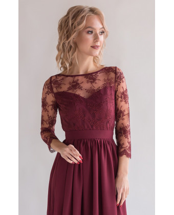 Платье с кружевом и рукавом марсала