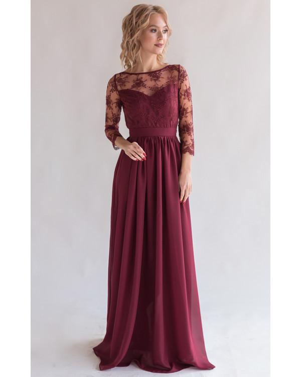 21e92b7f769 Платье с кружевом и рукавом марсала купить в интернет-магазине Роял ...