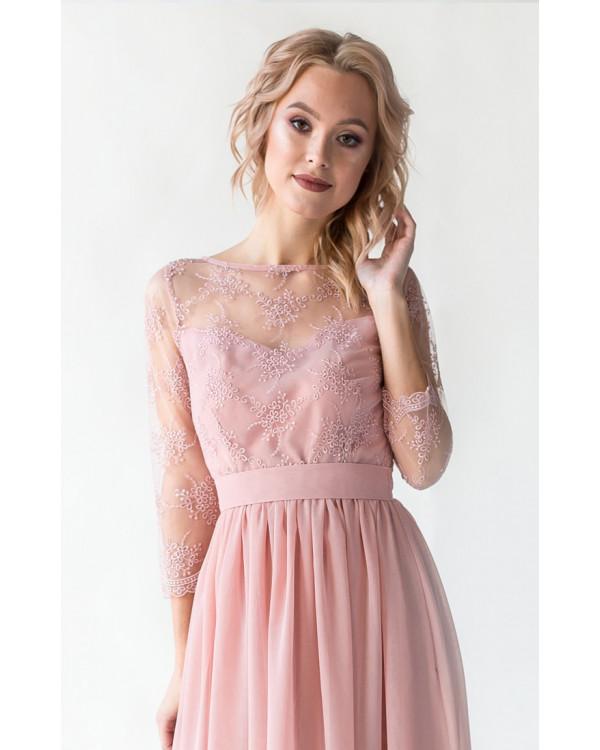 89456fe0e75 Платье с кружевом и рукавом пудра купить в интернет-магазине Роял ...