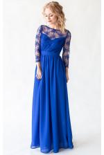 Платье с кружевом и рукавом синее