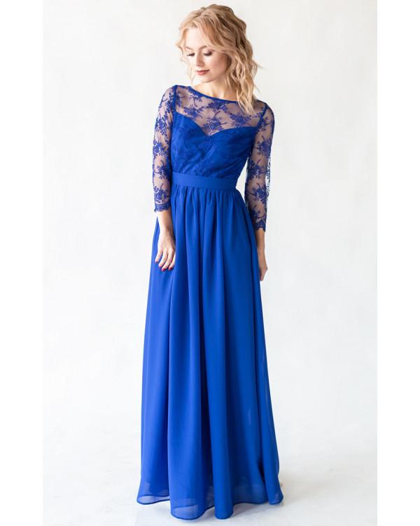 25ed61cf6d8 Платье с кружевом и рукавом синее купить в интернет-магазине Роял ...