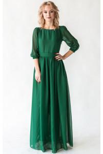 Платье с шифоновыми рукавами изумруд