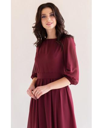 Платье с шифоновыми рукавами марсала