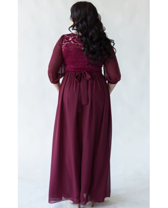 Платье в пол марсала size+