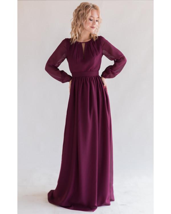 2b32e913114 Платье в пол с длинным рукавом марсала купить в интернет-магазине ...