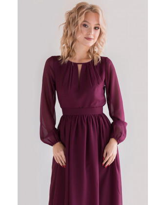 Платье в пол с длинным рукавом марсала