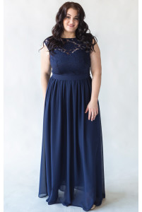 Платье в пол темно синее