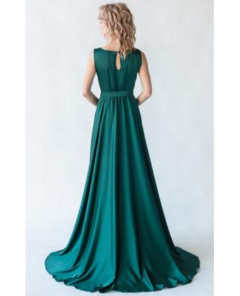Шелковое вечернее платье изумруд